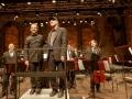 Steve Reich e il direttore del concerto Jonathan Stockhammer al termine dell'esecuzione del Triple Quartet al Teatro alle Tese (Arsenale di Venezia). Credits Akiko Miyake