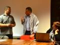 Il dialogo tra Haitham Al Khatib, il mediatore culturale Nabil Labidi e Franca Bastianello di Restiamo Umani con Vick all'incontro della Scoletta dei Calegheri a Venezia. Credits, Valentina Zanaga