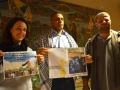 Il fotografo Haitham Al Khatib accanto a Nabil Labidi di Assopace e all'interprete Anna Clementi del Coordinamento per il Medio Oriente  impegnati nella campagna a sostegno della liberazione dei prigionieri palestinesi. Credits Valentina Zanaga