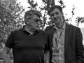 Alexander Sokurov accanto al fotografo Octavian Micleusanu sulla terrazza dell'Excelsior alla 72a Mostra del Cinema di Venezia. Foto Valentina Zanaga