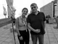 Alexander Sokurov accanto alla fotografa Valentina Zanaga sulla terrazza dell'Excelsior alla 72a Mostra del Cinema di Venezia. Foto Octavian Micleusanu