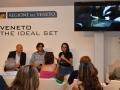 Il regista Alberto Gambato (da destra), Vainer Tugnolo e Angelo Zanellato (Consvipo), nella sala della Regione Veneto all'Hotel Excelsior. Venezia72 Foto Valentina Zanaga